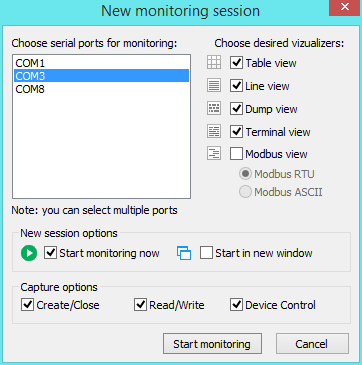 Creating a new session with Serial Port Monitor